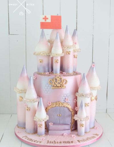 pink purple turret castle cake princess