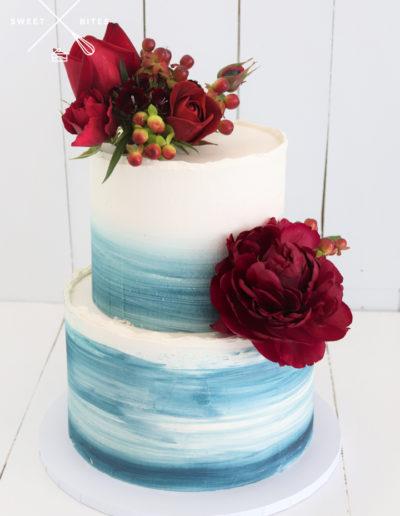 watercolour blue ombre wedding cake simple