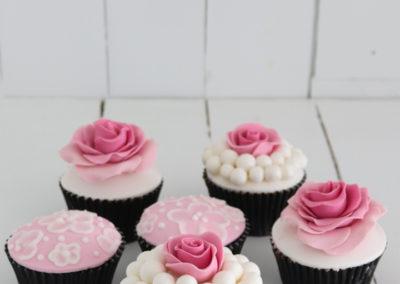 brush embroidery fondant rose cupcake pink