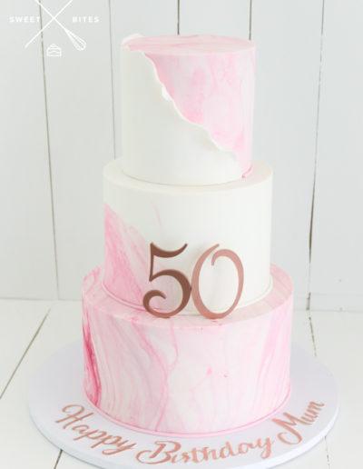pink and white marble cake wrap 50 rose gold mum birthday 3 tier cake