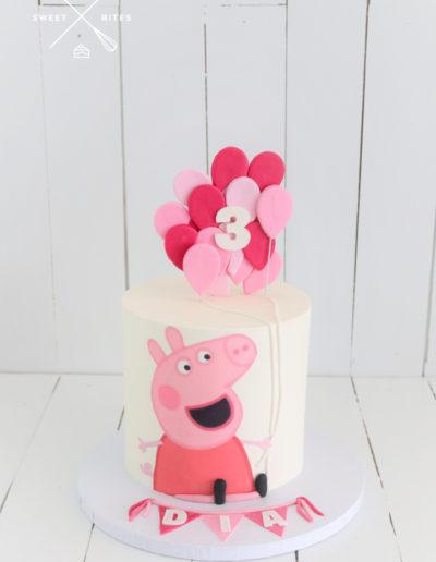 pink peppa pig balloons cake