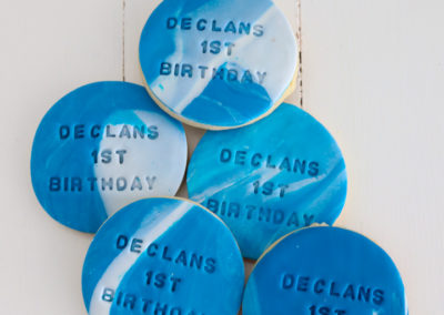 Personalised custom blue marble cookie biscuit 1st birthday