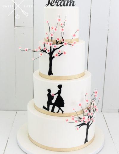 cherry blossom japanese 4 tier wedding cake silhouette propsal