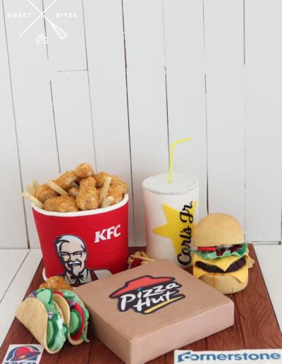 fast food takeaway cake kfc bucket chicken chips carl's junior cheese burger pizza hut taco bell