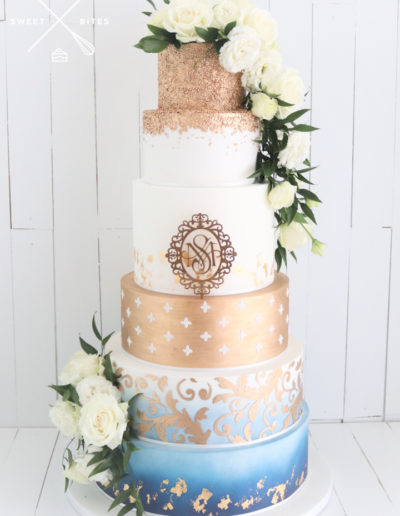 gold blue stencil ombre sequin weding cake 6 tier with roses