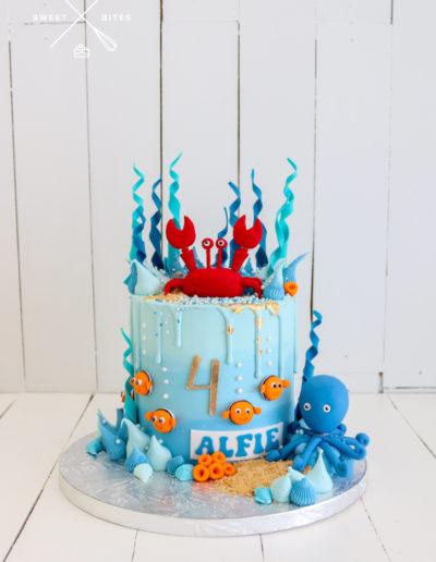 under the sea cake octopus crab nemo ocean blue
