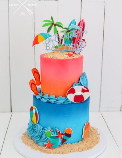 sunset sea beach tropical holiday cake 2 tier island