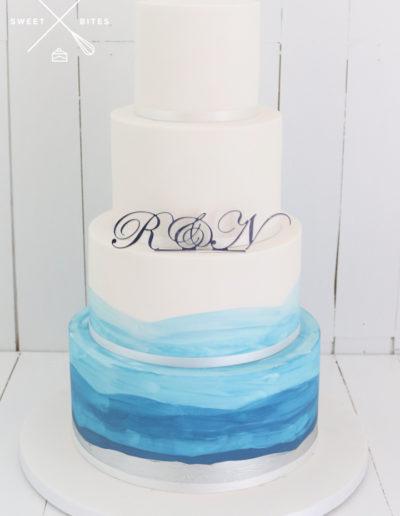 watercolour sea theme weddign cake 4 tier