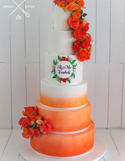 sunset orange airbrush 6 tier wedding cake hand painting coral tropical island
