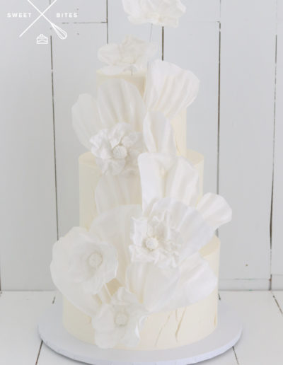 wafer rice paper sail wedding cake sugar flowers white