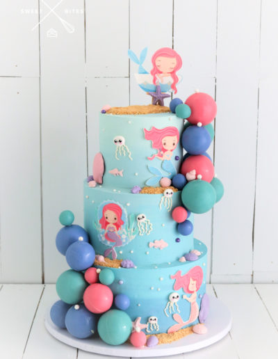 mermaid 3 tier cake sphere jellyfish cute ombre