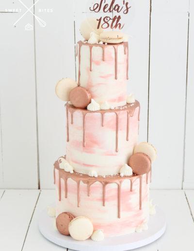 pink white cake watercolour rose gold macarons 18th birthday